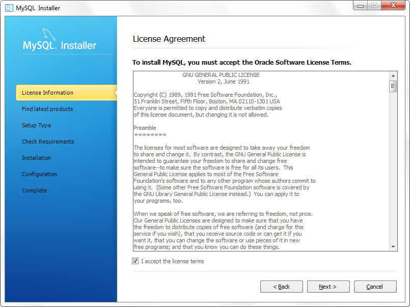 End-User License Agreement MySQL Server
